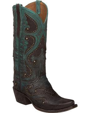 Lucchese Handmade Aqua Ombre Gemma Cowgirl Boots - Snip Toe , Aqua, hi-res