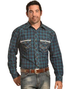 Crazy Cowboy Men's Navy Plaid Western Snap Shirt , Blue, hi-res