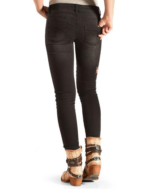 Angel Premium Women's Black Rumor Embroidered Skinny Jeans, Black, hi-res