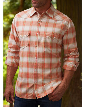 Ryan Michael Men's Ombre Paprika Plaid 9 Western Shirt, Chili, hi-res
