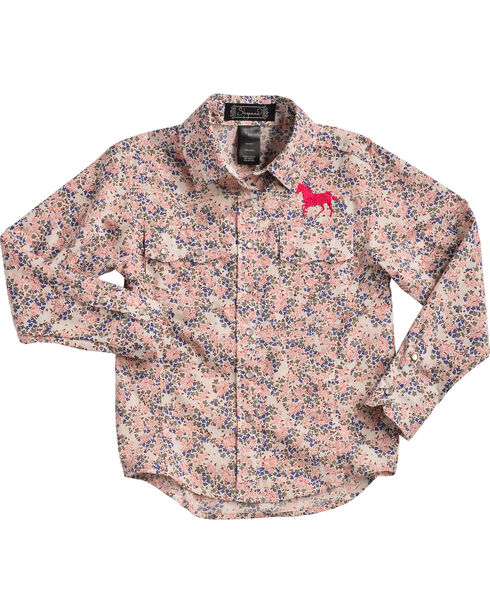 Shyanne Toddler Girls' Floral Horse Embroidered Long Sleeve Shirt, Pink, hi-res