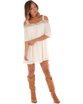 Wrangler Women's Crochet Cold Shoulder Dress, Ivory, hi-res