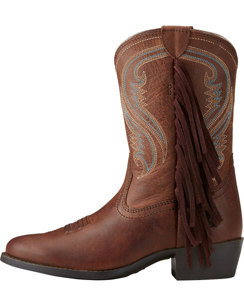 Ariat Girls' Fancy Western Sassy Fringe Cowgirl Boots - Round Toe, Black, hi-res