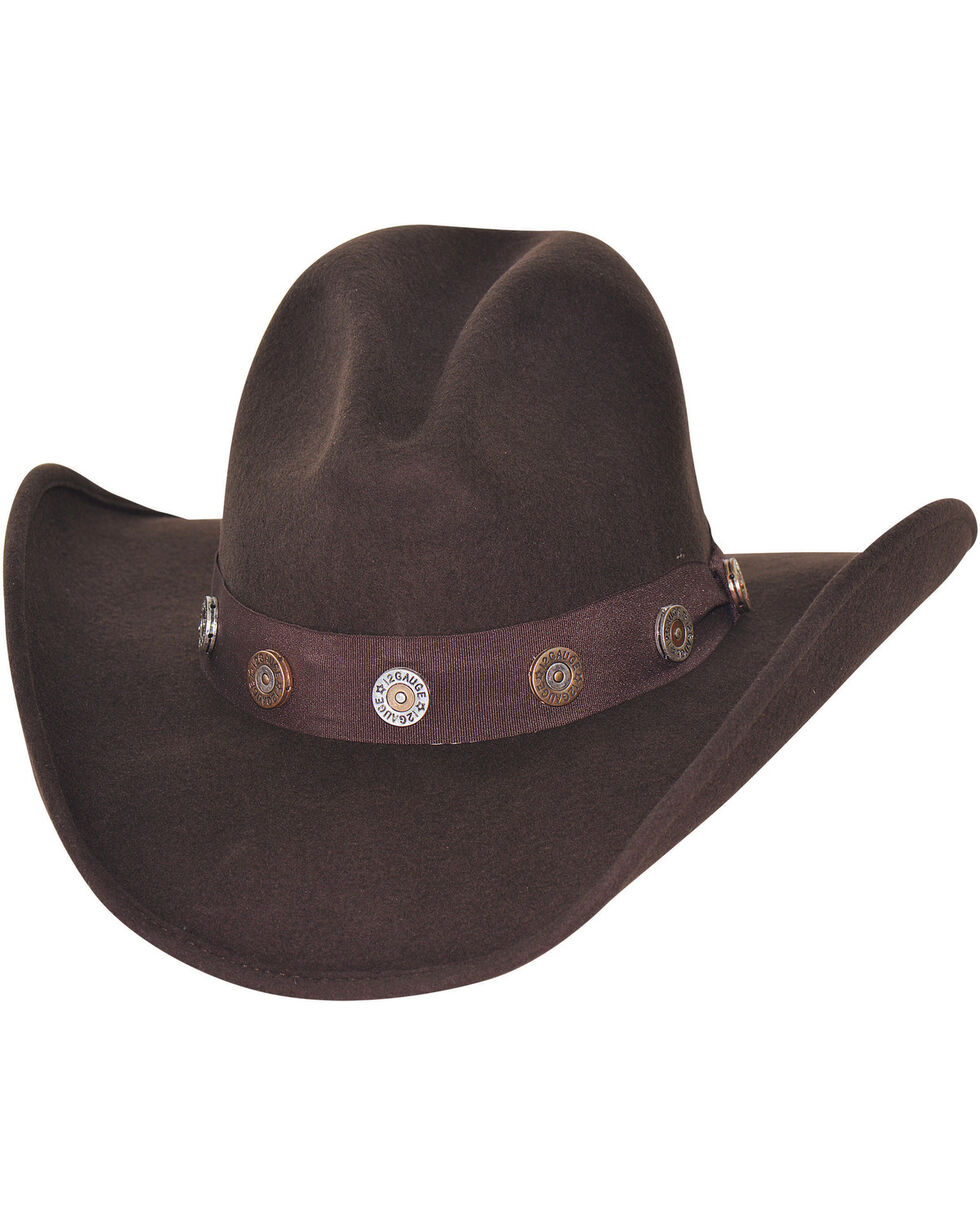 Bullhide Men's Shotgun Premium Wool Cowboy Hat, Chocolate, hi-res