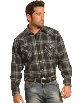Pendleton Men's Grey Plaid Snap-Front Western Canyon Shirt , Grey, hi-res
