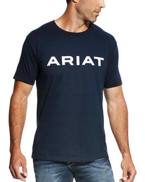 Ariat Men's Navy Branded Tee , Navy, hi-res