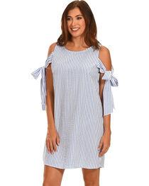 Ces Femme Women's Blue Tie Shoulder Shift Dress , , hi-res
