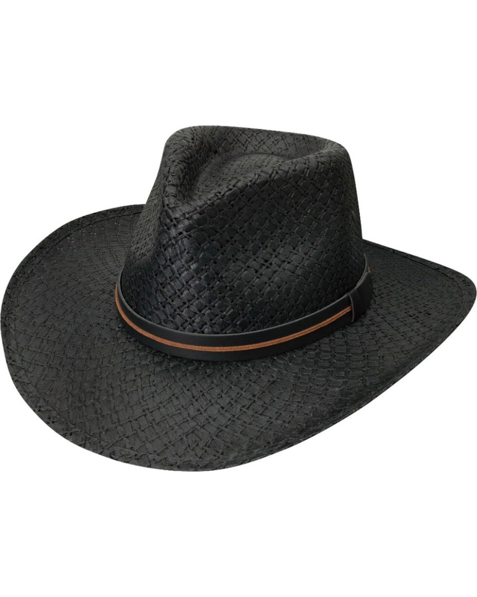 Black Creek Men's Black Toyo Straw Hat , Black, hi-res
