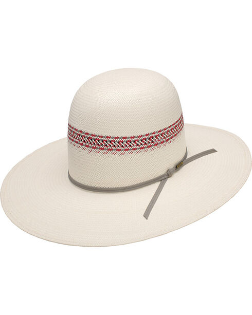 Resistol Colorful Open Crown Straw Hat, Red, hi-res