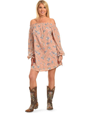 Polagram Women's Off-the-Shoulder Long Sleeve Floral Dress, Light/pastel Pink, hi-res