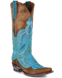 Old Gringo Women's Bell Embroidered Western Boots, Blue, hi-res