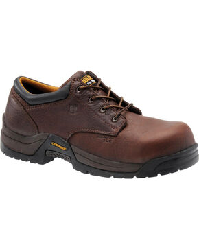 Carolina Men's Dark Brown ESD Oxford Shoe - Non-Metallic Composite Broad Toe, Dark Brown, hi-res