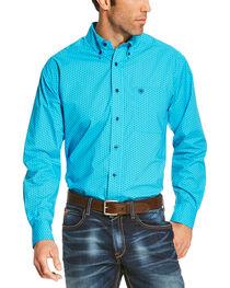 Ariat Men's Blue Riverton Print Long Sleeve Shirt - Big and Tall , , hi-res