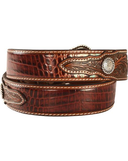 Nocona Men's Turquoise and Croc Leather Belt, Tan, hi-res