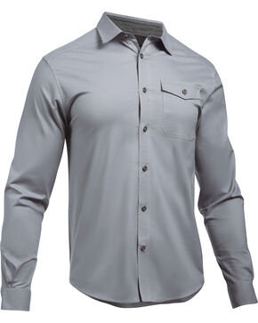 Under Armour Men's Cascade Chambray Flannel Shirt , Dark Grey, hi-res