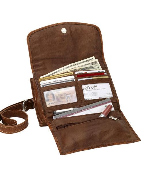 American West Women's Desert Wildflower Small Crossbody Bag/Wallet, Tan, hi-res