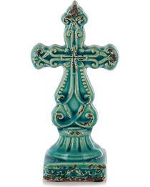 Stonebriar Worn Turquoise Ceramic Cross Pedestal, , hi-res