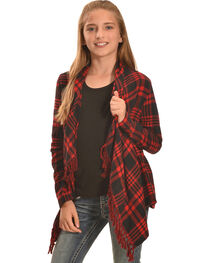 Derek Heart Girls' Red Plaid Flannel Fringe Cardigan , , hi-res