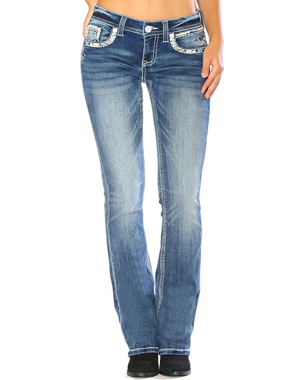 Grace in LA Women's Blue Embroidered Pocket Boot Cut Jeans - Plus , Blue, hi-res