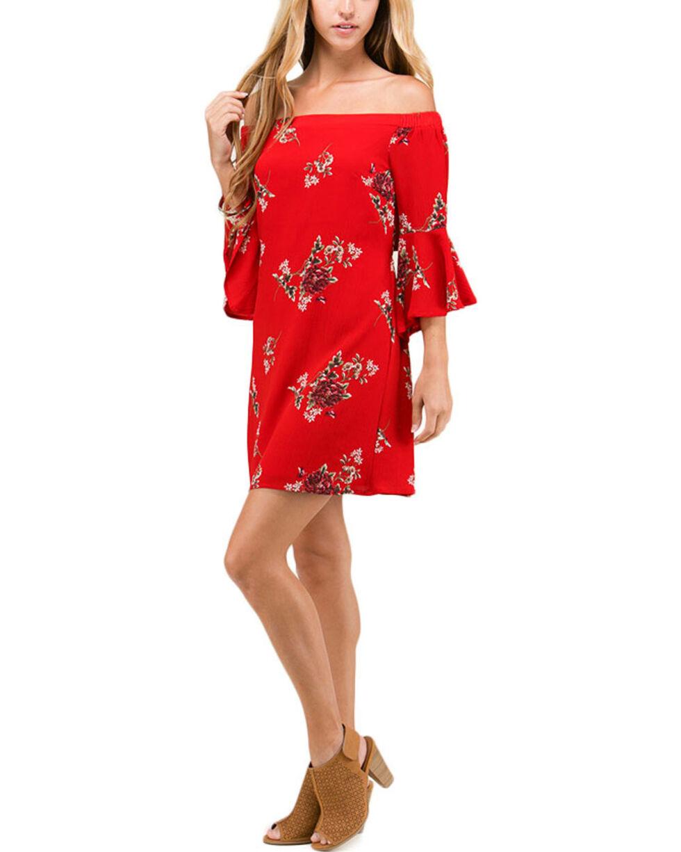Polagram Women's Red Floral Off The Shoulder Dress, , hi-res