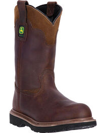 "John Deere Men's 11"" Dip Top Pull On Western Work Boots - Round Toe, Brown, hi-res"