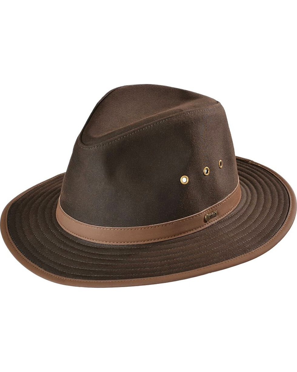 Outback Trading Co. Brown Madison River UPF50 Sun Protection Oilskin Hat, Brown, hi-res
