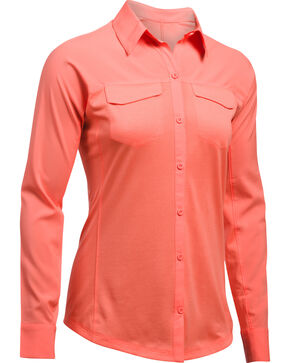 Under Armour Women's Orange Tide Chaser Hybrid Shirt, Orange, hi-res