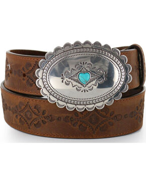 Justin Women's Navajo Heart Leather Belt, Bark, hi-res