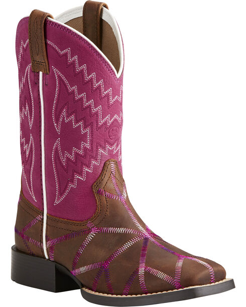 Ariat Girls' Twisted Tycoon Western Boots, Brown, hi-res