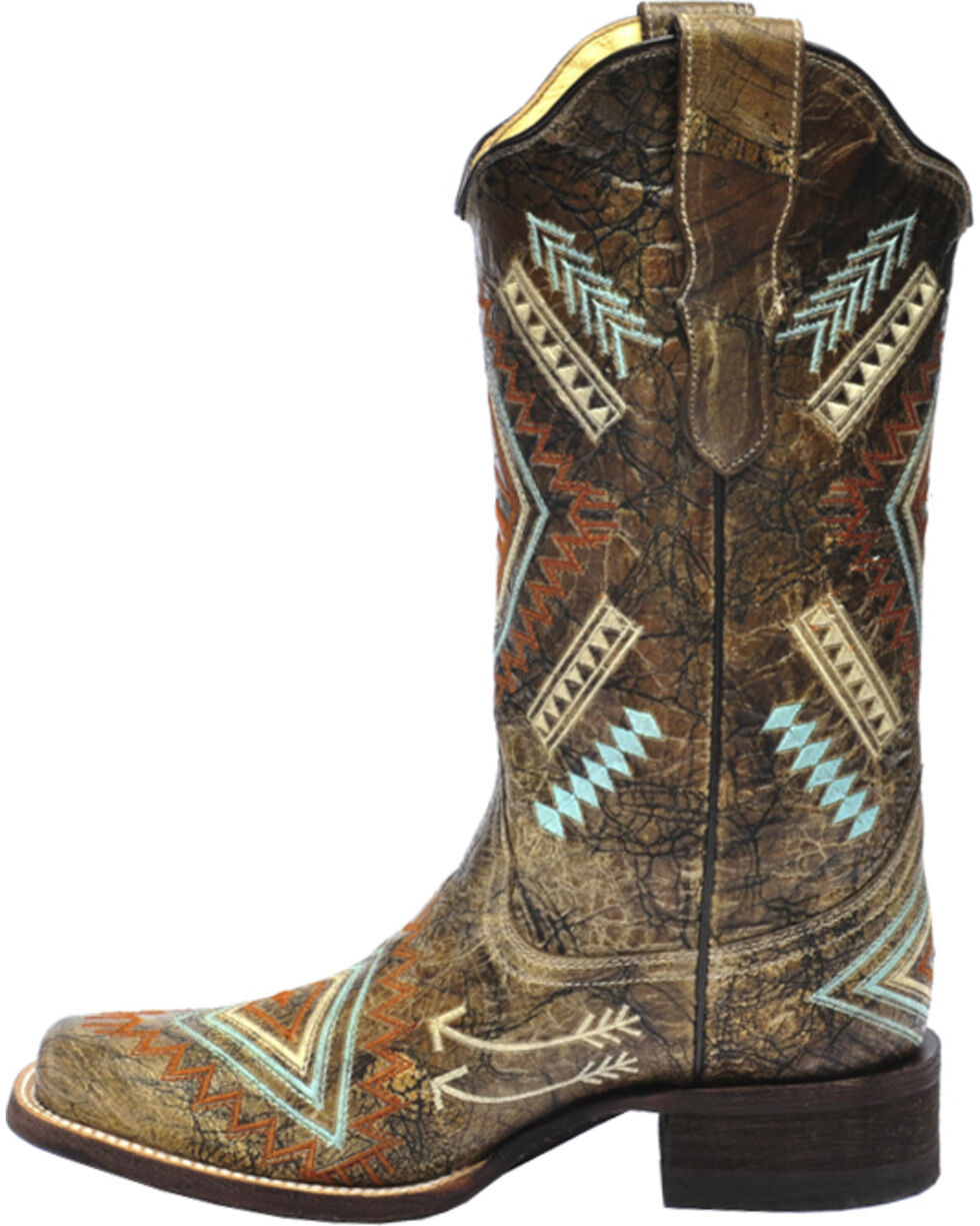 Corral Multicolored Diamond Embroidered Cowgirl Boots - Square Toe, Black, hi-res