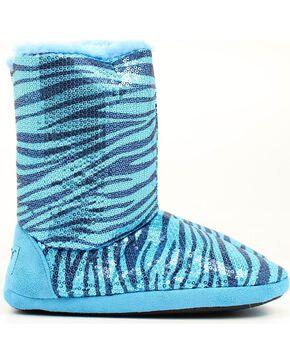 Blazin Roxx Blue Sequin Zebra Print Slippers, Turquoise, hi-res