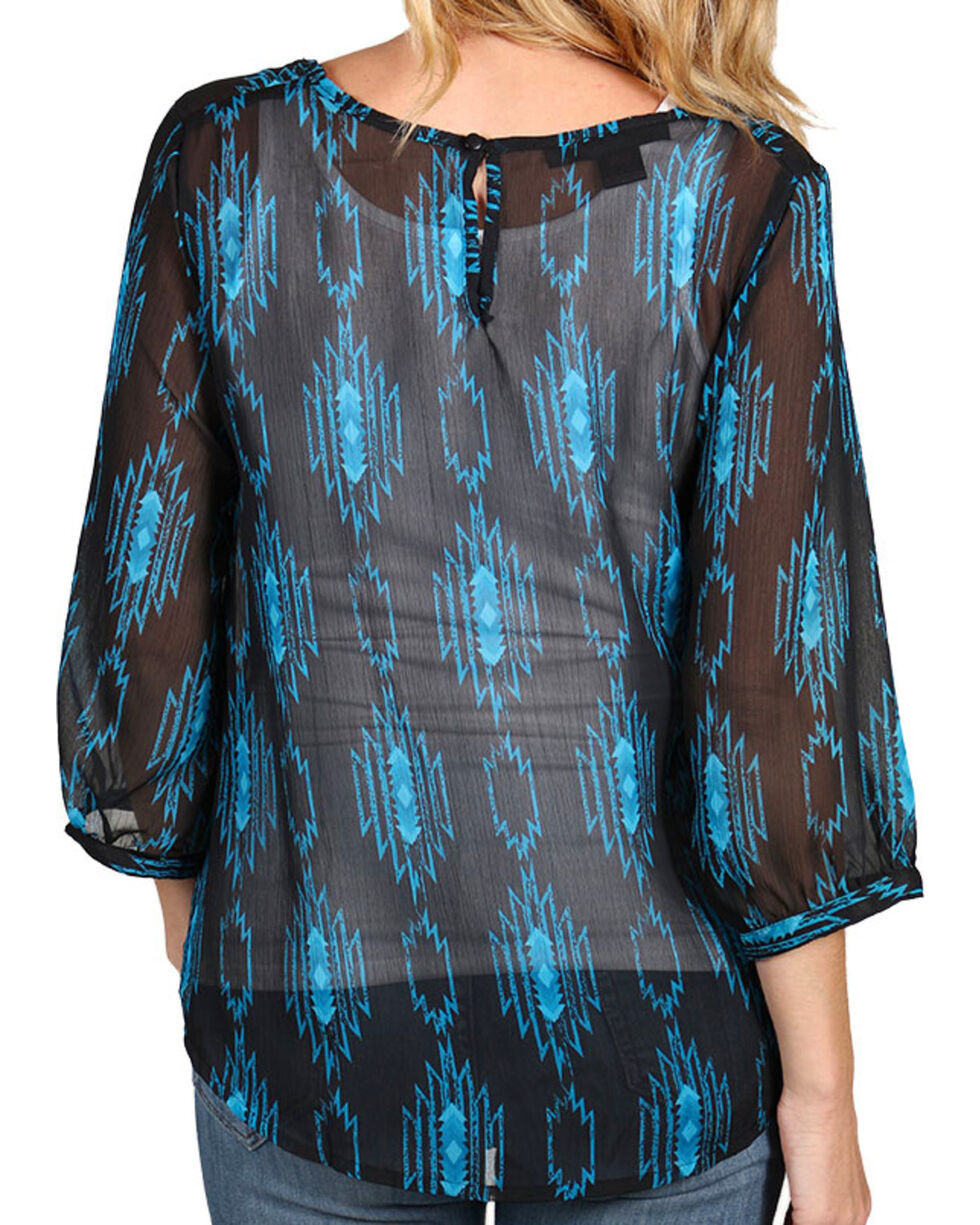 Rock & Roll Cowgirl Women's Aztec Print Long Sleeve Blouse, Black, hi-res