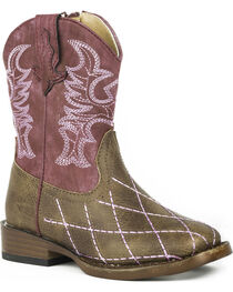 Roper Toddler Girls' Cross Cut Cowgirl Boots - Square Toe, , hi-res