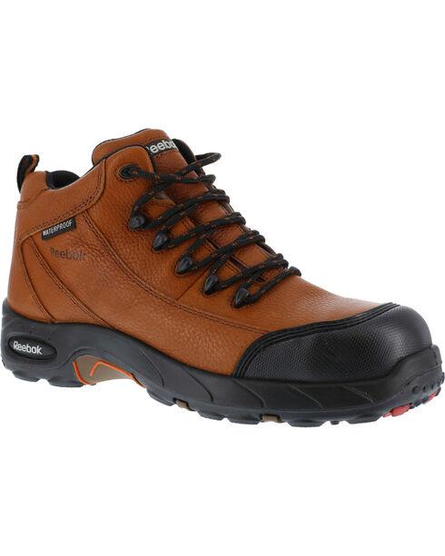 Reebok Men's Tiahawk Sport Hiker Waterproof Work Boots - Composition Toe, Brown, hi-res