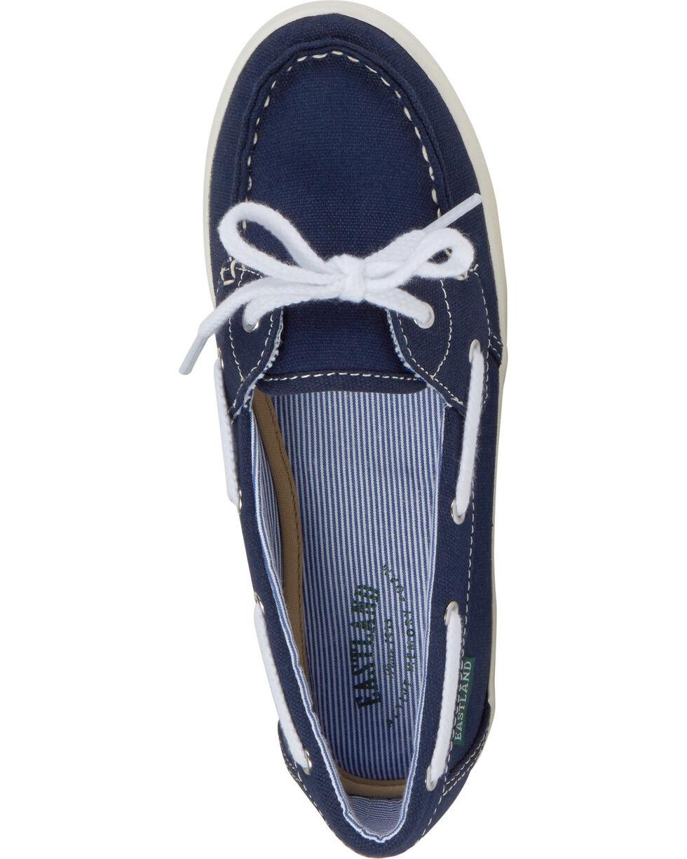 Eastland Women's Navy Canvas Skip Boat Shoe Slip-Ons , Navy, hi-res