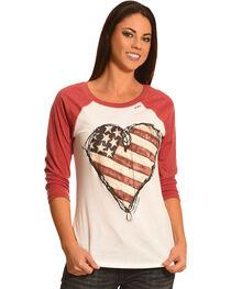Bohemian Cowgirl Women's American Heart Baseball Tee, , hi-res