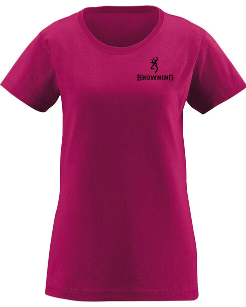Browning Women's Distressed Black Buckheart Berry Short Sleeve Tee, Fuchsia, hi-res