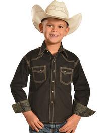 Cody James® Kid's Long Sleeve Print Pattern Western Shirt, Black, hi-res