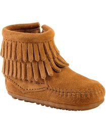 Minnetonka Infant Girls' Double Fringe Side Zip Moccasin Boots, , hi-res