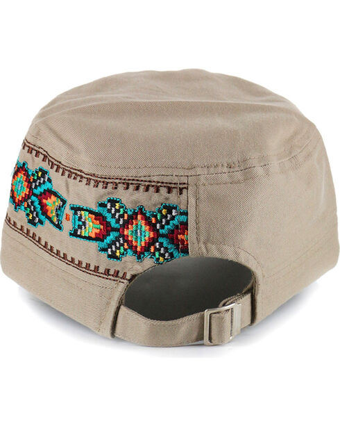 Savana Women's Embroidered Military Hat, Tan, hi-res