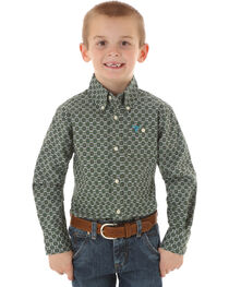 Wrangler Boys' Circle Patterned Long Sleeve Shirt, , hi-res