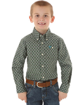 Wrangler Boys' Circle Patterned Long Sleeve Shirt, Olive, hi-res