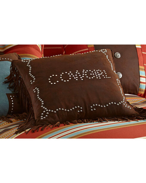 HiEnd Accents Brown Cowgirl Studded Faux Leather Pillow, Multi, hi-res