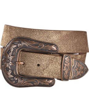 Shyanne Women's Shimmer Belt , Brown, hi-res