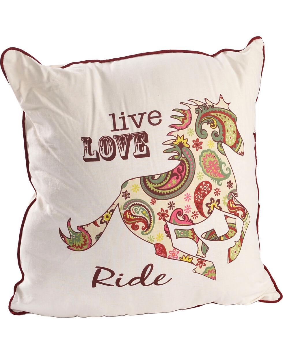 BB Ranch Paisley Horse Live Love Ride Pillow, No Color, hi-res