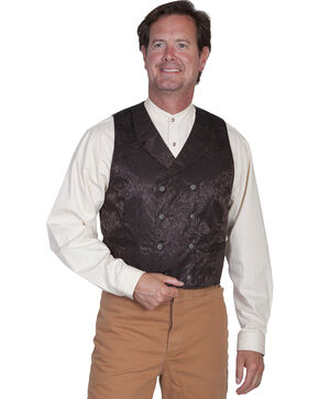 Wahmaker by Scully Floral Silk Double Breasted Vest - Big & Tall, Chocolate, hi-res