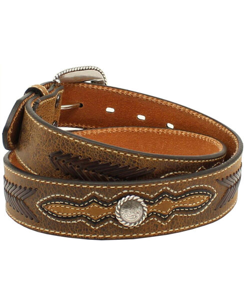 Ariat Men's Distressed Leather Lace Concho Belt, Brown, hi-res