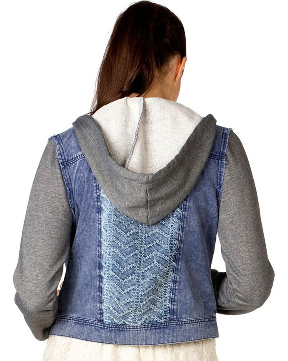 Miss Me Mixed Media Denim Hooded Jacket, Light Blue, hi-res