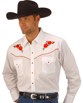 Ely Walker Men's Embroidered Rose Long Sleeve Western Shirt, White, hi-res