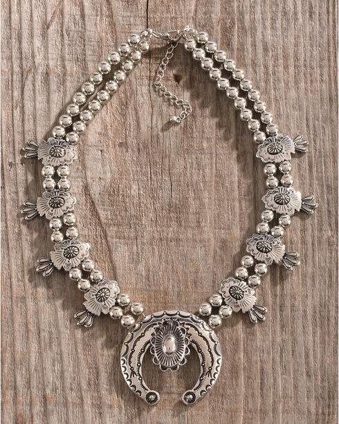 Gemelli Women's Silver Squash Blossom Necklace, Silver, hi-res